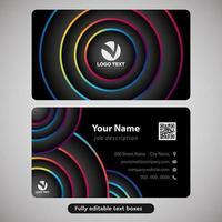 Design de cartão de visita abstrato círculos coloridos