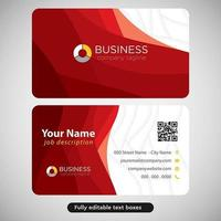 Red Curves Lines Modern Business Card vector