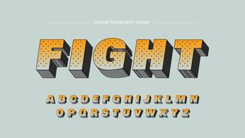 Orange fetstil tecknad stil 3D konstnärliga teckensnitt