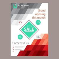 Red Grey Abstract Sale Poster