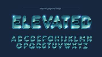 Tipografía mayúscula redondeada cromo azul brillante vector