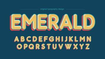 Rounded Bold Funny Yellow Artistic Font vector