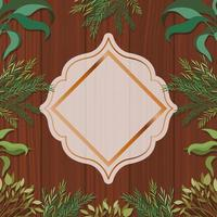 golden geometric frame with herbal and wooden background