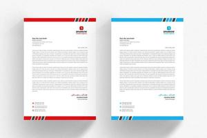 White letterhead template set with blue and red borders