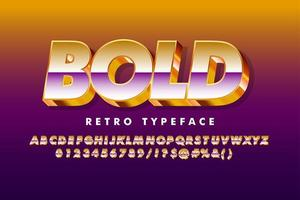 Strong bold retro alphabet with gold extrude