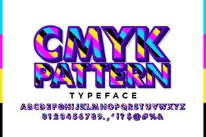 Retro alphabet with CMYK pattern