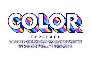 Vintage pop art font with colorful extrude