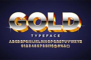 Metallic alphabet style with Gold Extrude