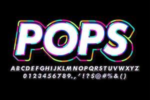 Estilo de fonte de contorno colorido pop art