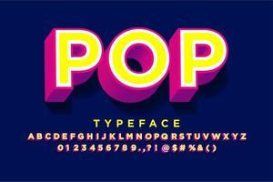 Sterke, krachtige 3D-pop-art lettertypestijl