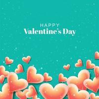 Cartolina di San Valentino con cuori arancioni lucidi