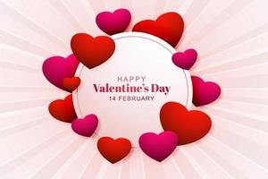 Moldura circular de dia dos namorados com corações em fundo radial