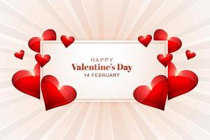 Valentines rectangle frame surrounded by hearts on radial background vector