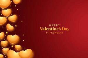 Beautiful golden hearts for valentines day on red background vector