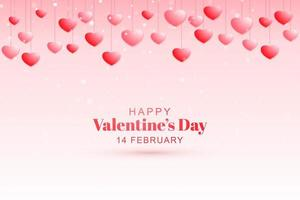 Red and pink hearts hanging on strings valentines day card design vector