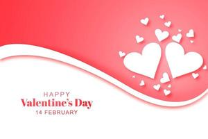 Happy valentines day lovely hearts card with wave background vector
