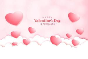 Valentine's day card with hearts on clouds background