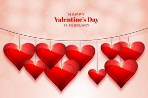 Happy valentines day lovely hearts on string background vector