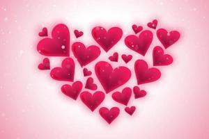 Feliz dia dos namorados adorável corações em forma de coração no fundo rosa suave
