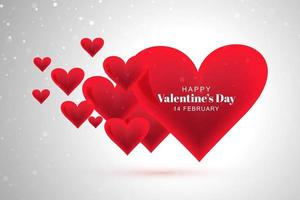 Happy valentines day red hearts on gray bokeh background vector