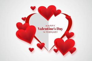 Large paper cut heart with smaller glossy hearts valentines day card