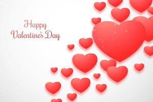 Corações de bokeh romântico lindo em um cartão de ângulo vetor