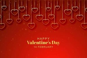 Golden hanging hearts on red valentines day background vector