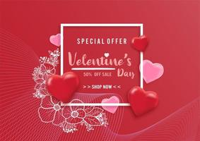 Valentines day sale background with balloons heart pattern and flower illustration vector