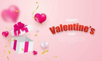 Valentine's day, banner with Surprise gift box, gold ribbon and heart balloons