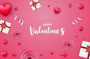 Pink Valentine's day banner with red hearts, roses, gift boxes and confetti