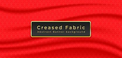 Red Creased fabric background with geometric pattern vector