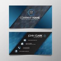 Moderne blaue und schwarze Winkeldesignschablone der Visitenkarte