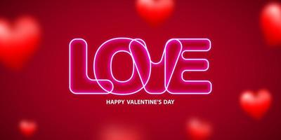 Valentine's day, banner with faded red hearts and neon Love text