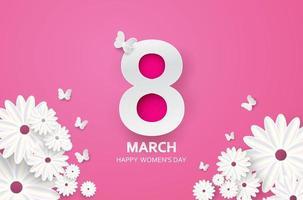 8 de marzo Día de la mujer Fondo rosa con flores de papel cortado y mariposas
