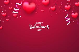 Red Valentine's day template with glossy hearts and confetti