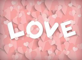 Valentines day pink background with paper cut hearts and Love text