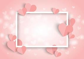 Valentines pink heart background, white frame and paper cut heart shape