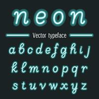 Glowing neon hand drawn alphabet font.