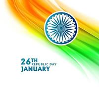Indian Republic day 26 January with flag wave background