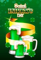 Saint Patrick's Day green beer and golder ribbon background vector
