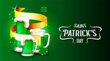 Saint Patrick's Day green beers, golden ribbon and shamrocks on green gradient vector