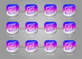Social media transparent with colorful gradient 3D icons set