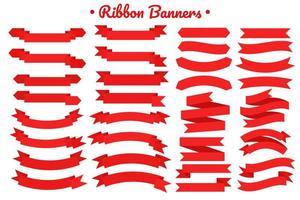 Flat red ribbon banner set vector