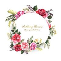 Beautiful wedding decorative flowers round frame with space for text vector