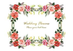 Wedding invitation decorative flowers and gold frame with space for text vector