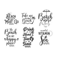 Beach quote lettering typography set