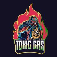 Emblema di esports di carattere gas tossico faccia