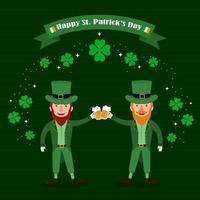 Happy Saint Patrick's Day Greeting with Twin Beard Men