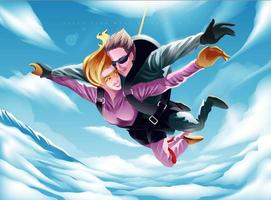 Young couple parachuting together