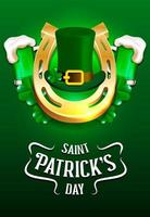 Saint Patrick's Day beer, hat and horseshoe poster vector
